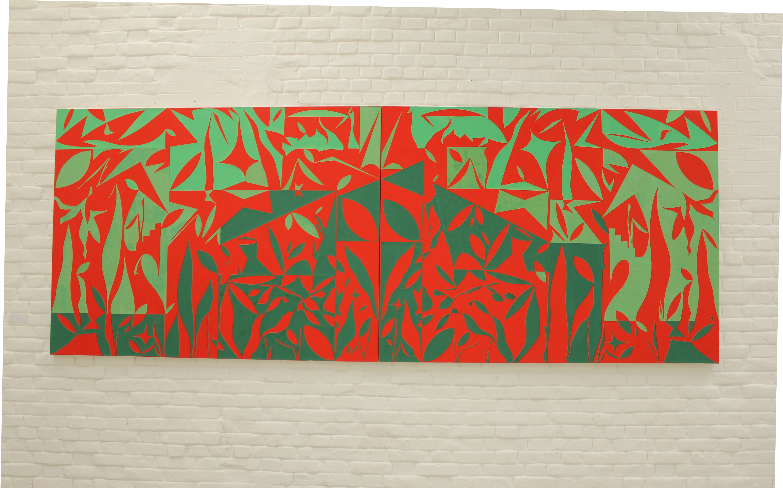 Damir Sobota: 10500BC, 150x400cm,2017, kolaz papir na platnu (2)