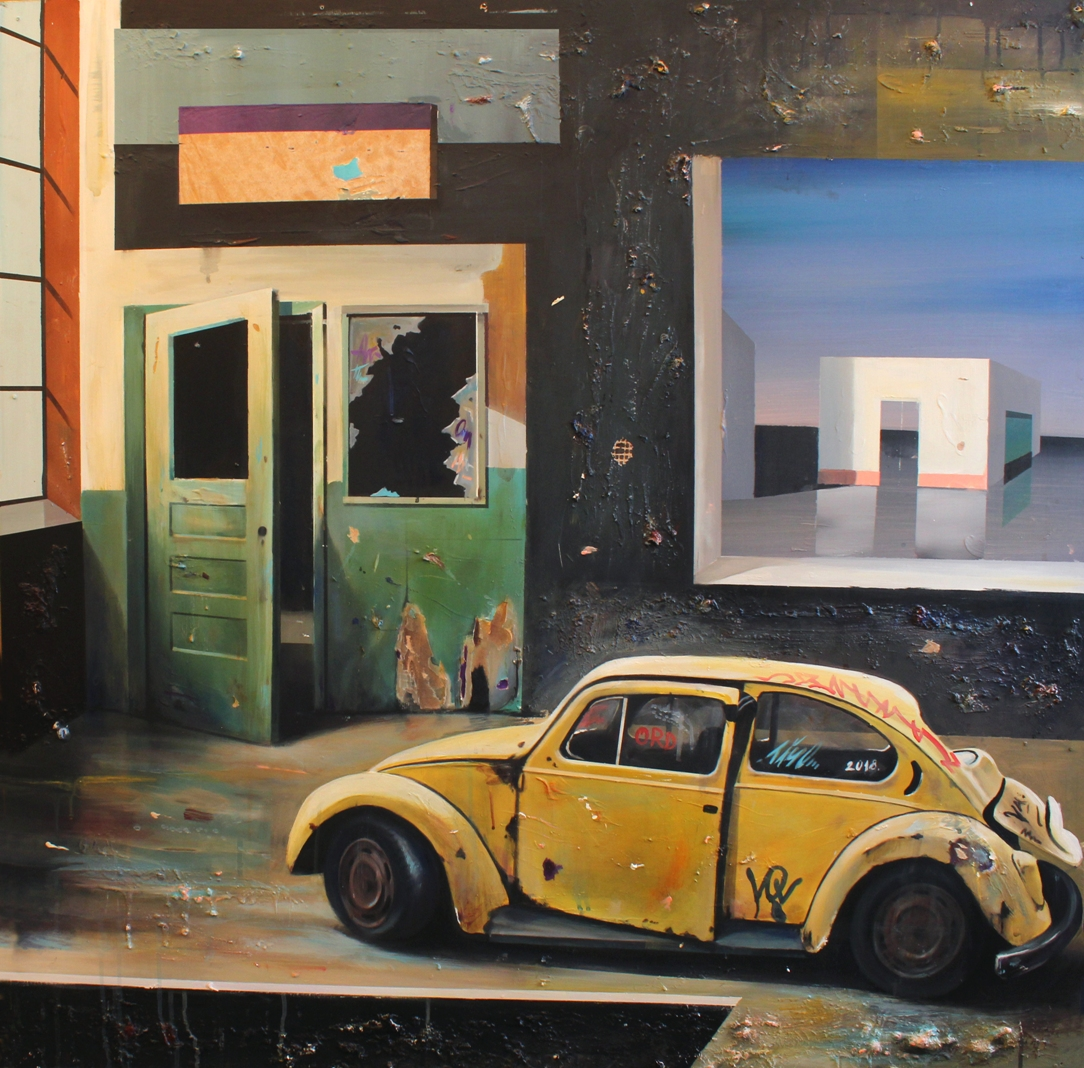 Igor Taritas: old car in room 110x110cm, acrylic on wood